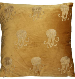 Fluwelen kussen Jellyfish   Yellow /Gold  45x45 cm