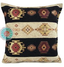 Boho Esperanza Kussens Boho Aztec stripes zwart en creme kussen 45x45cm incl.binnenkussen