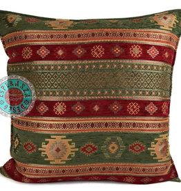 Boho Esperanza Kussens Boho Aztec Olijf groen&Rood 45x45cm