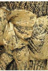 Sierkaars van Was met Gouden Olifant opdruk  8.5x7.3x15cm