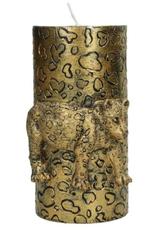 Sierkaars van Was met  Gouden Luipaard opdruk  8.5x7.3x15cm