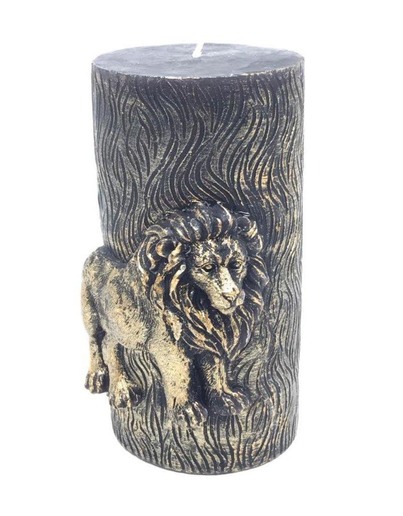 Sierkaars van Was met Gouden Leeuw opdruk 8.5x7.3x15cm