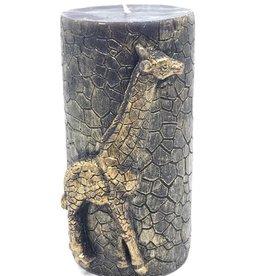 Sierkaars van Was met Gouden Gouden Giraffe opdruk  8.5x7.3x15cm