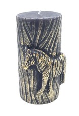 Sierkaars van was met Gouden Zebra opdruk 8.5x7.3x15cm