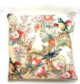 GoRound Fluwelen Kussen  Birds/Flowers Content/Beige  45x45cm incl.Binnenkussen