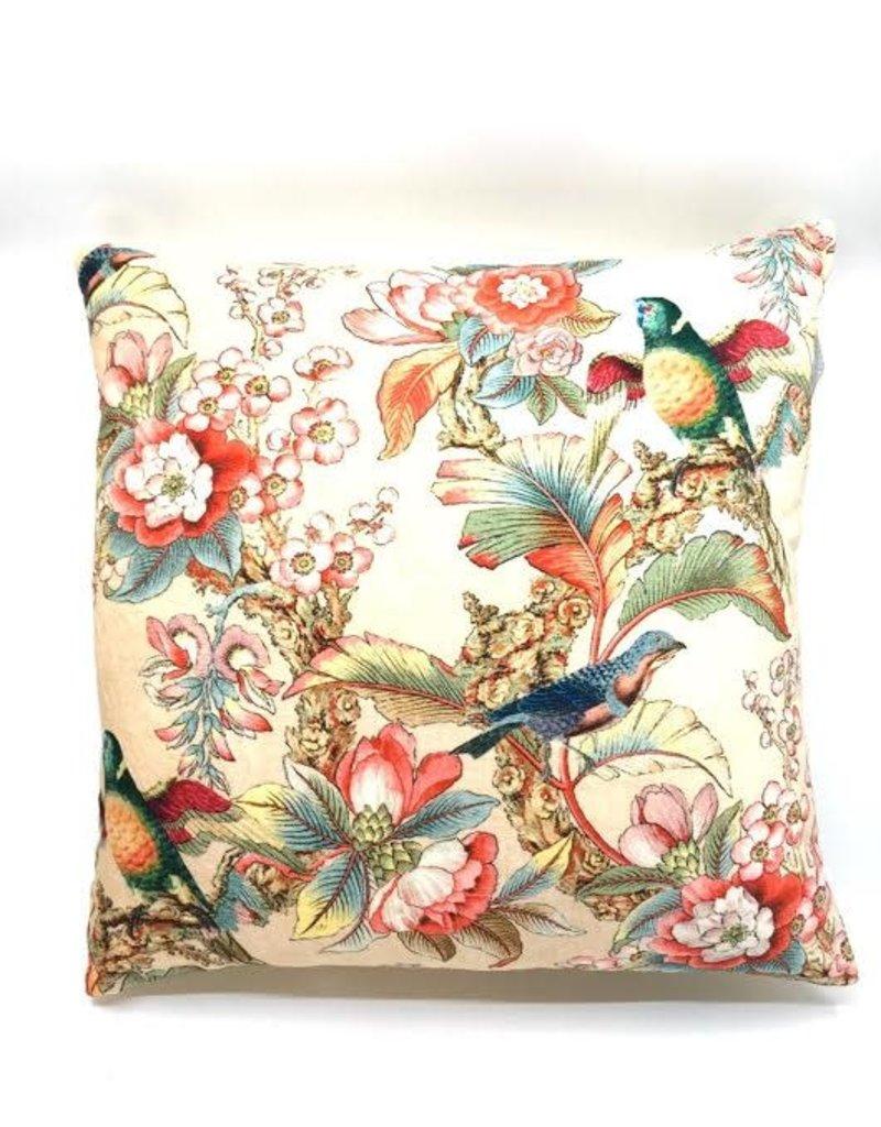 GoRound Fluwelen Kussen Birds/Flowers Content /Beige45x45cm incl.Binnenkussen