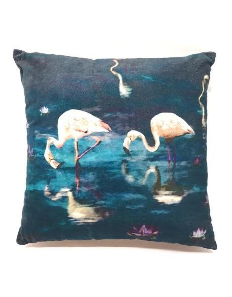 GoRound Fluwelen Kussen Flamingo  45x45cm Incl.Binnenkussen