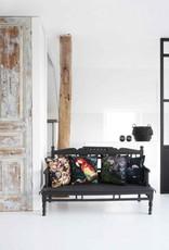GoRound Fluwelen Kussen Black Flower/Birds 45x45cm  incl.Binnenkussen