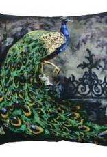 GoRound Fluwelen Kussen Peacock 45x45cm  incl.Binnenkusen