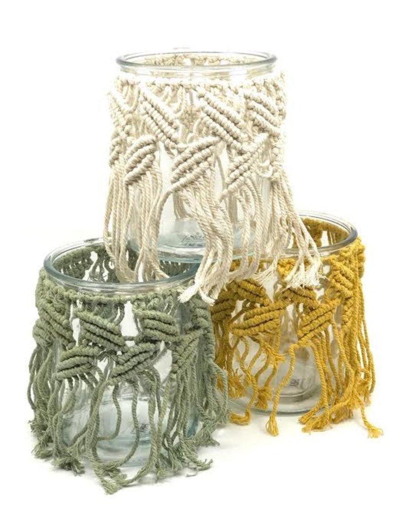 Macrame Windlicht set van 3  Groen,Wit&Geel