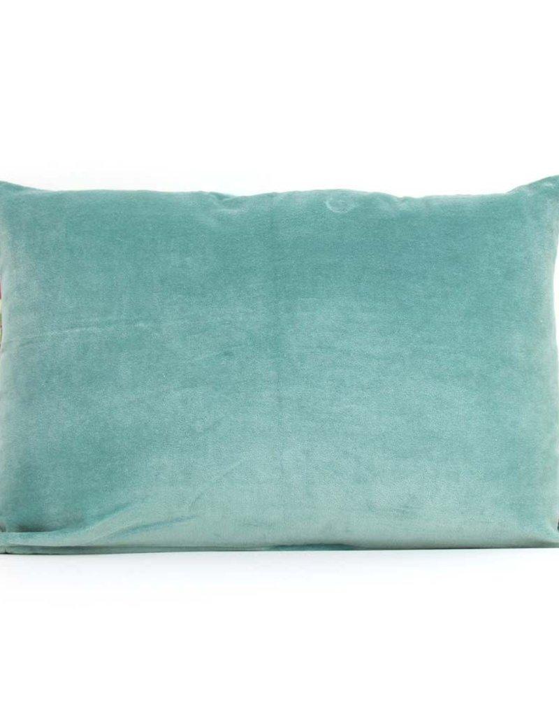 Imbarro Home & Fashion Imbarro Fluwelen kussen Paradise Blow Turquoise 35x50cm incl.Binnenkussen