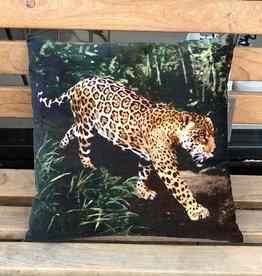 GoRound Fluwelen Kussen Leopard Glad 45x45cm incl.Binnenkussen