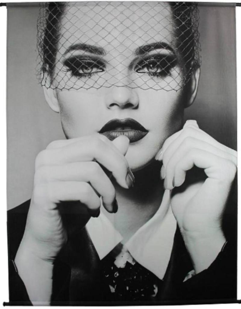 Poster met Vrouw, Velours 170x140cm
