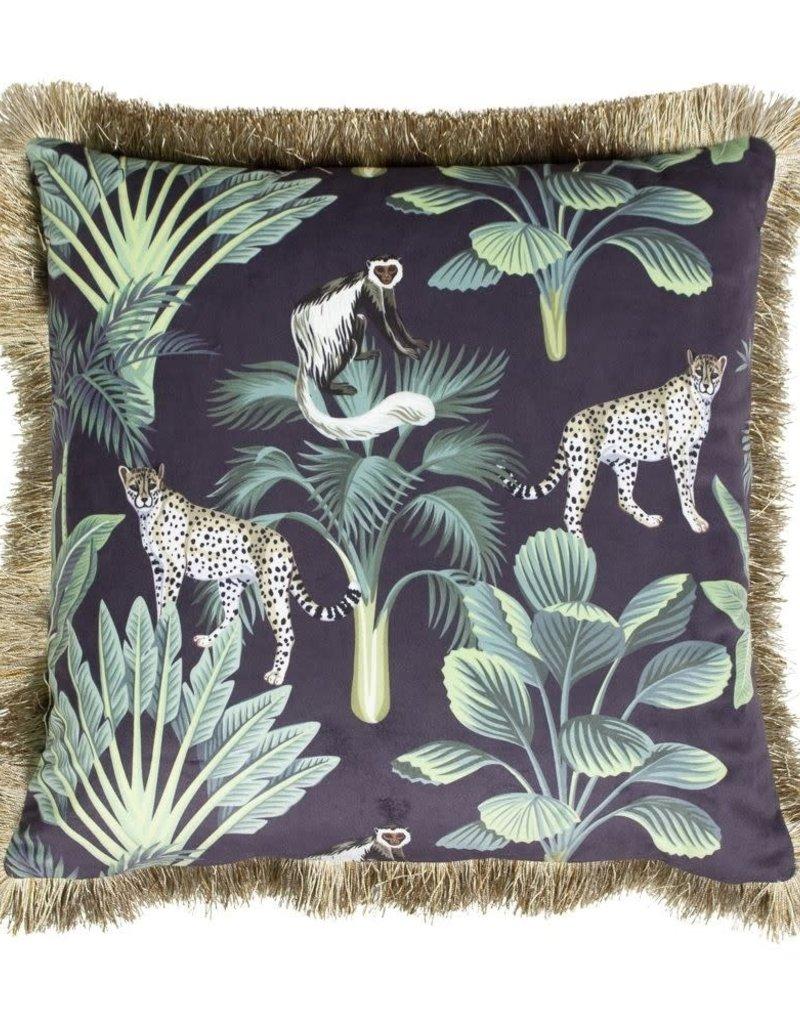 Kussen fluweel Jungle Panter Zwart 45x45 cm Inc binnenkussen