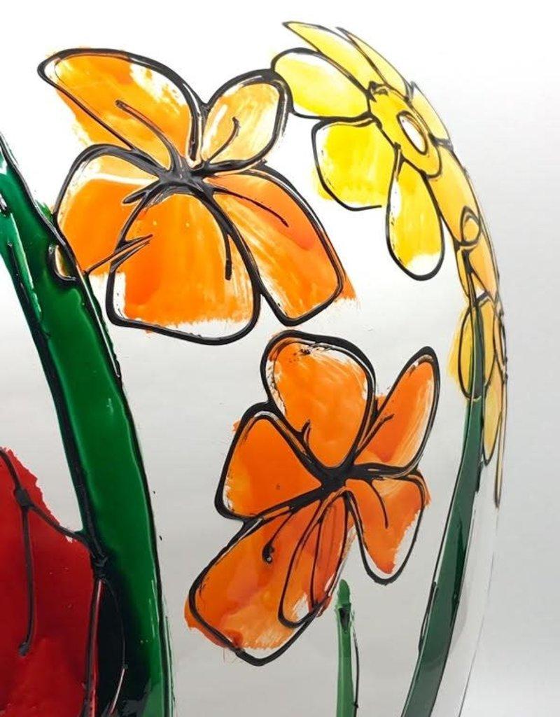 Gilazi Buikvaas Orange/Yellow Flowers in Grass H48cm
