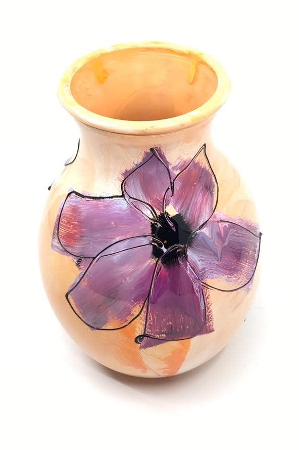 Gilazi mini Vaasje Yellow Purple Flower H19.5cm