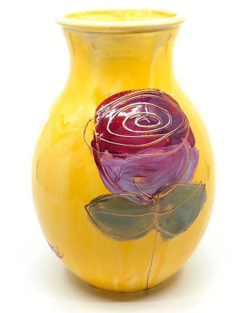 Gilazi mini Vaasje Yellow Red/Purple Flower H19.5cm