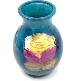 Gilazi mini Vaasje Blue Yellow Flower H19.5cm