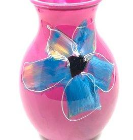 Gilazi mini Vaasje Rose Blue/White Flower H19.5cm