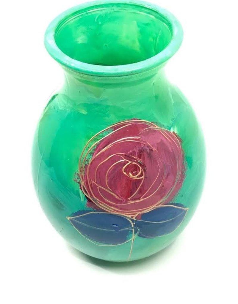 Gilazi mini Vaasje Seagrass Green /Red FlowerH19.5cm