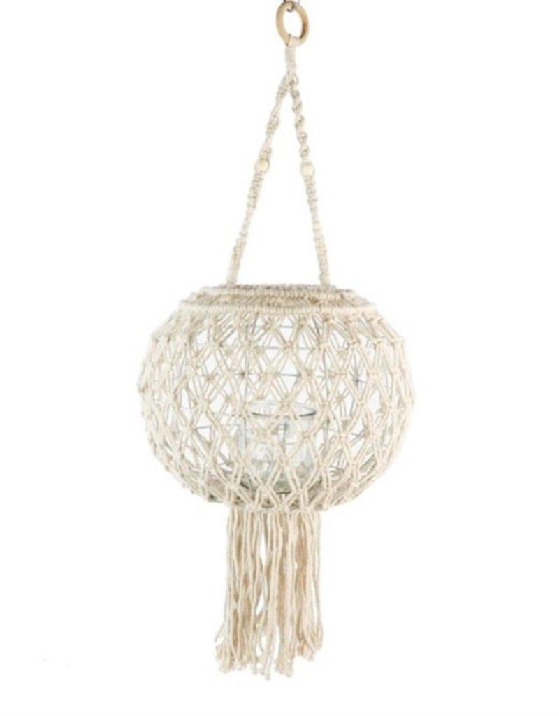 Macrame  Lantaarn met Windlichtglas & Franjes