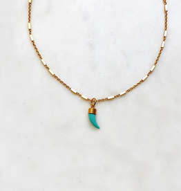 By Nouck By Nouck Choker Turquoise Tooth 35cm
