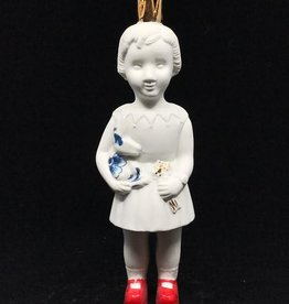lammers&lammers Lammers&Lammers Mini Pupke wit met Konijn Delftsblauw en Rode Schoentjes