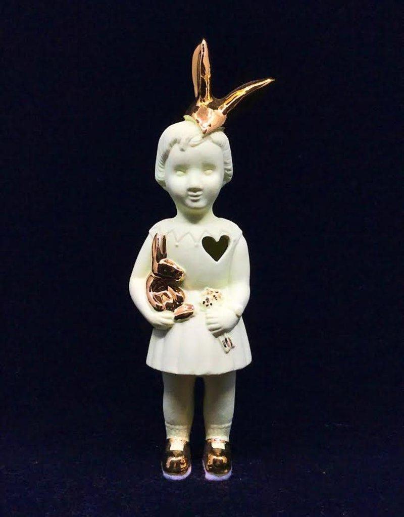 Lammers&Lammers Lammers&Lammers Bunny Geel met Gouden Konijnenoortjes 14cm