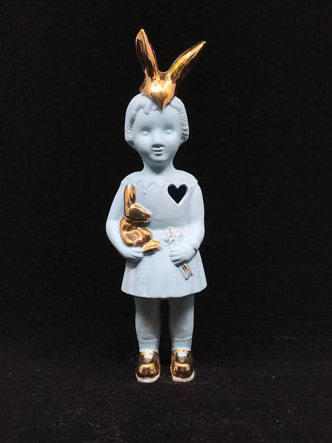 Lammers&Lammers Lammers&Lammers Bunny Blauw met Gouden Konijnenoortjes 14cm
