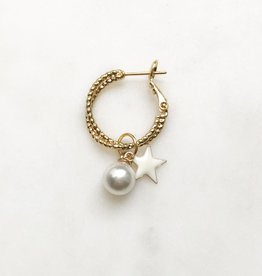 By Nouck By Nouck Double Twisted Earring Pearl Star