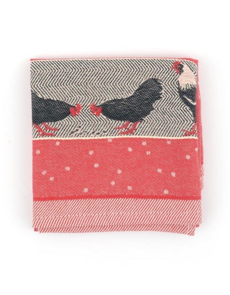 Bunzlau Castle Tea Towel Chickens Red