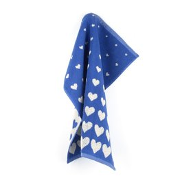 Bunzlau Castle Kitchen Towel Hearts Royal Blue