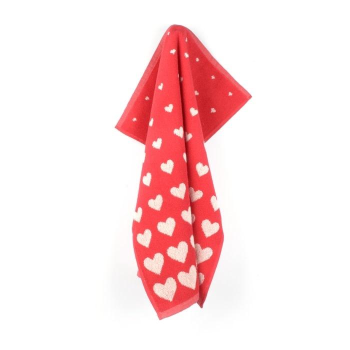 Bunzlau Castle Bunzlau Castle Kitchen Towel Hearts Red