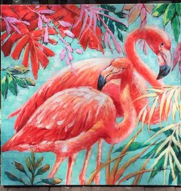 DigaC Handpainting Flamingo's on Canvas 90x90cm