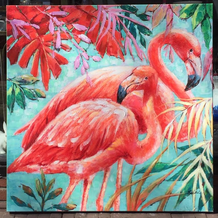 DigaC Handpainting Flamingo's on Canvas cm