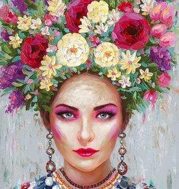 Olieverfschilderij Girl with Earrings & Flowers 90x120cm