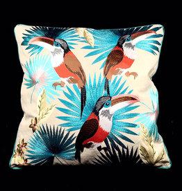 DigaC. Kussen Planten/Vogels Multicolor Cotton 50x50cm Incl.binnenkussen