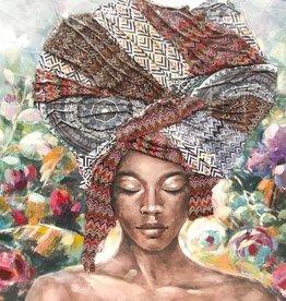 Kw Olieverf Schilderij African Lady Head 3D 100x100cm