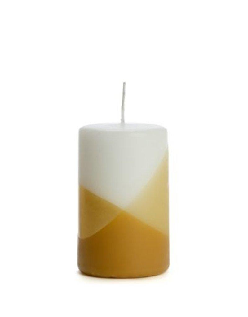 Rustik Lys Pilaar kaars Wit  Sand /Gold Crossdipped 6x10cm