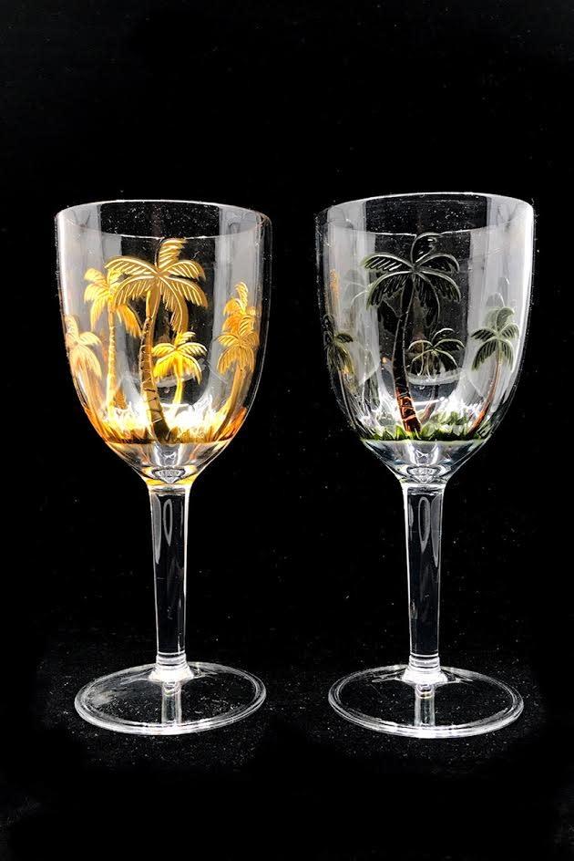 Wijnglas Palmboom Acryl Groen 9x9x20.5cm
