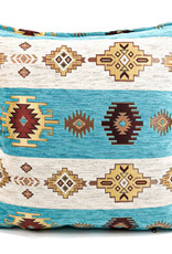 Boho Esperanza Kussens Boho Aztec kussen Wit Turquoise 70x70cm Incl.Binnenkussen