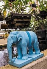 Loco Lama Loco Lama Olifanten Boekensteun Blauw 27,5 x 22 x 11 cm