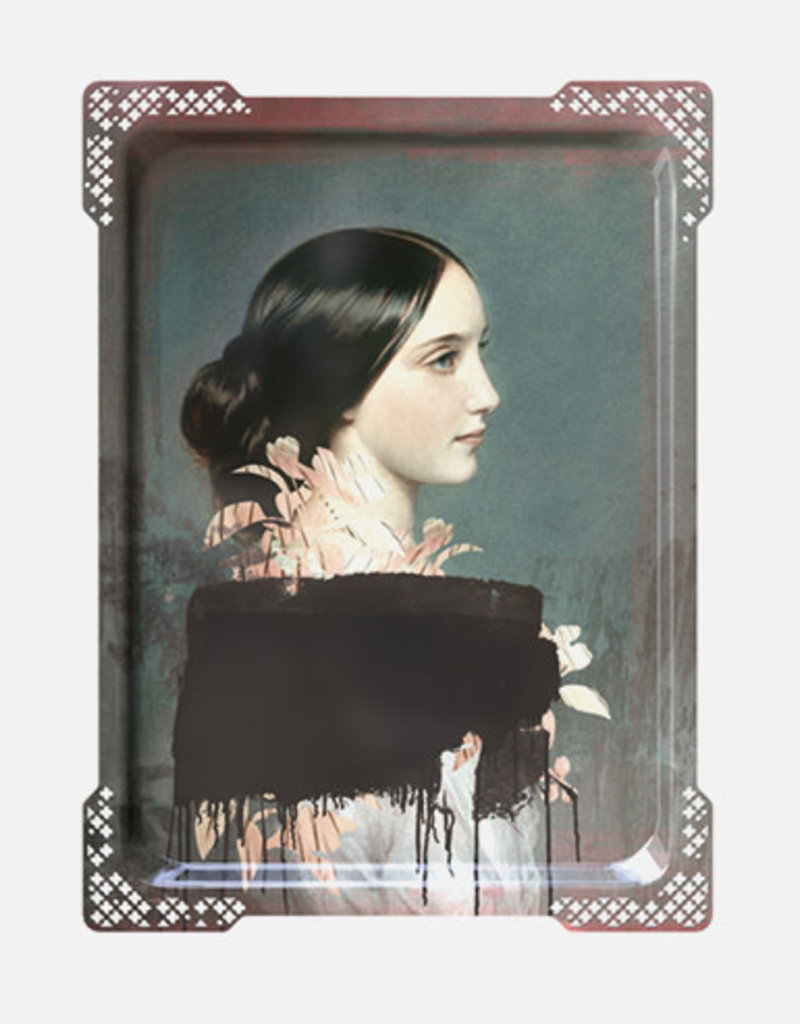IDA#4 - Rectangular tray Vrouw Black Scarf,Ibride 65 x 47 cm