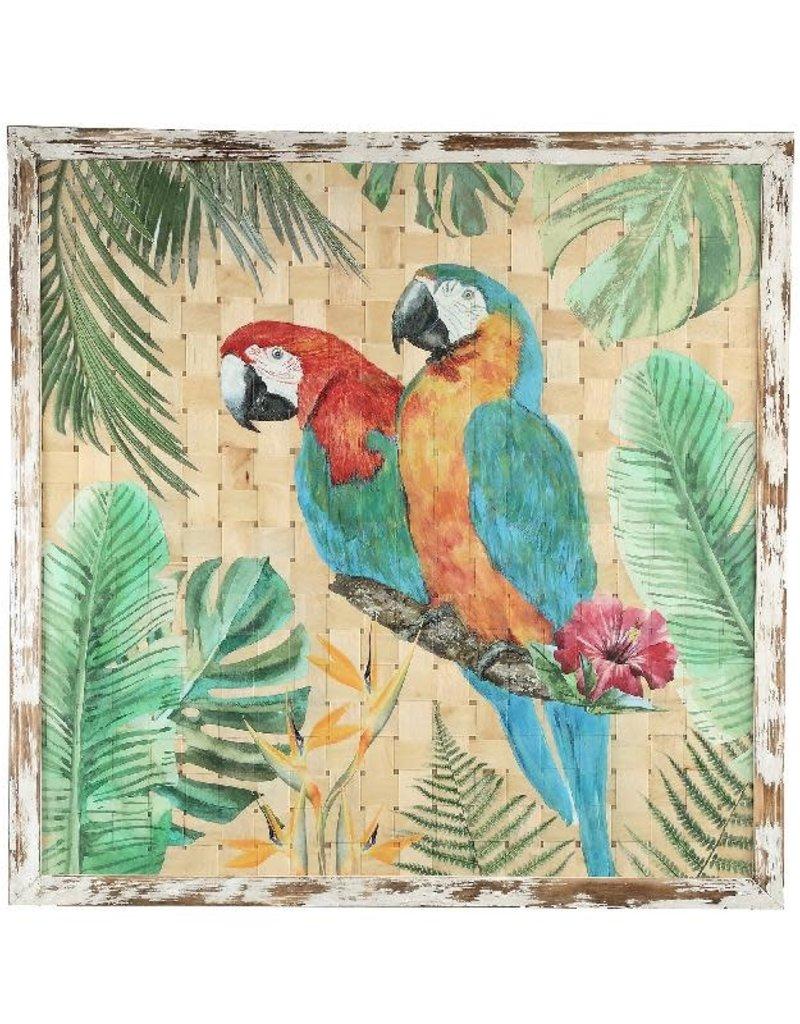 Botanical Green Schilderij op gevlochten Bamboe met Papegaai