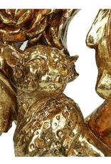 Candle Holder Leopard Polyresin Gold H34cm