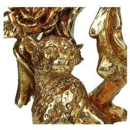 Candle Holder Leopard Polyresin Gold L H34cm