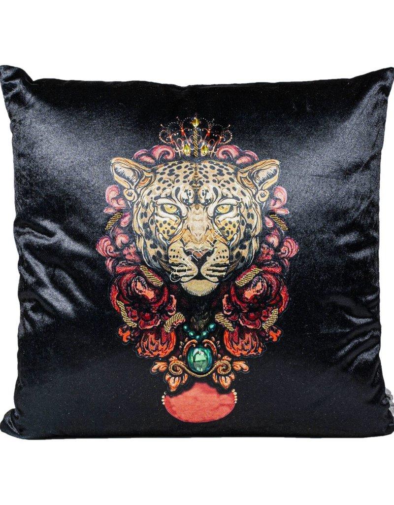 DigaC. Cushion Black Leopard Head 50x50cm incl.Binnenkussen