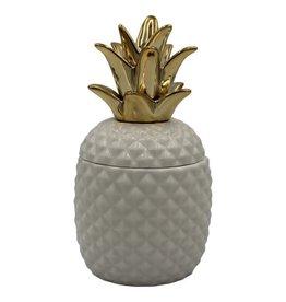 HV Pineapple Jar White Golden Crown