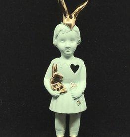 Lammers&Lammers Lammers&Lammers Bunny Mint met Gouden Konijnen Oortjes 14cm