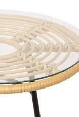 Rotan bijzettafel 50x50cm Rotan/Metaal
